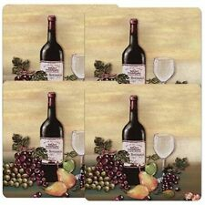 Set of 4 Gas Stove Top Range Burner Covers Square Barnyard Wine Kitchen Decorate