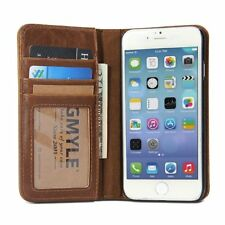 iPhone 6S 6 Luxury Brown Genuine Real Leather Magnetic Case Flip Wallet Cover