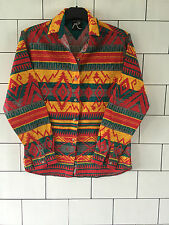 WOMENS URBAN VINTAGE RETRO LONG SLEEVED AZTEC TRIBAL FESTIVAL SHIRT SIZE UK 6-8