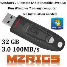 Windows 7 Ultimate 64 bit Bootable Live USB 32GB No installation required