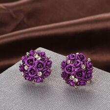 Fashion Women Jewelry Elegant Rose Flower Crystal Rhinestone Ear Stud Earring