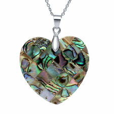 Multicolor Heart Shape Abalone Shell Pendant 35mm with 18 Inch Chain