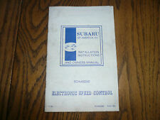 1981 Subaru Electronic Speed Control - Installation Instruction & Owners Manual