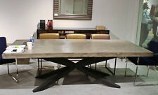 "95"" L dining table industrial design concrete cement top black iron legs unique"