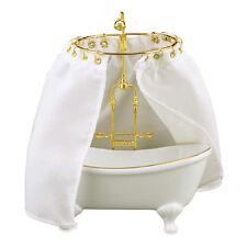 Reutter Porzellan Duschwanne mit Vorhang / White Tub & Shower Puppenstube 1:12