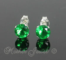 5mm REAL 925 STERLING SILVER Round Emerald Green CZ Earrings Mens Womens Studs