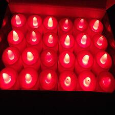 24 X Parpadeante Tea Light Baterías Led Velas candelitas Decoración del Hogar Rojo De Navidad