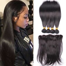 300g/3bundles virgin brazillian straight human hair 16,18,20 wit 13x4 frontal 14