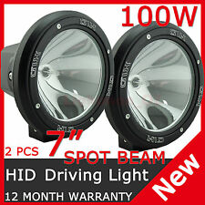 PAIR 100W 7INCH HID XENON DRIVING LIGHT PENCIL BEAM SPOT OFFROAD WORK LIGHT UTE