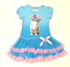 Beautees Girls BlueTutu Party Dress - Embellished Cat Design - 4 Years - BNWT