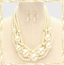 Multi Strand Row Layered Chunky Faux Pearl Bead Beaded Necklace Set Bib NEW
