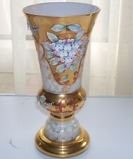 Moser Opaque Glass Vase Bohemian Czech Gold Flowers