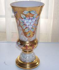 Moser Opaque Glass Vase Bohemian Czech Gold Flowers