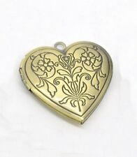 Antiqued Bronze 29mm Engraved Leafy Floral Photo Picture Locket Pendant