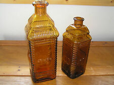 Vintage Lot of 2 Amber Brown Berring's APPLE Bitters Large & Medium Sized Bottle