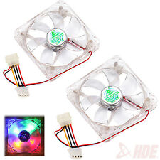 12V 4Pin 120mm 4 LED Multi Color Silent PC Computer CPU Cooling Case Fan 2 Pack