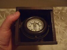 antique ships compass Nova Scotia dory compass on gimbel in dovetailed box