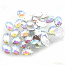 75pcs Wholesale New Oval Crystal AB Sew-on Flatback Beads Buttons Applique FI