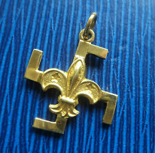 Vintage Boy Scout RARE  18ct Gold Fylfot Thanks Badge -  c.1920/30