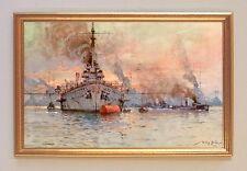 Deutsche Schlachtschiffe Kaiser Wilhelm II Gemälde auf Leinwand Stöwer 83 LW