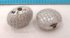 1x Rhodium plated STERLING SILVER CRYSTAL MICRO PAVE ROUND SPACER BEAD #2354