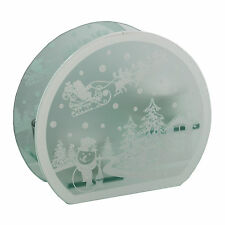 Snowman and Santa Scene Glass Tea Light Holder - Christmas Tea Light
