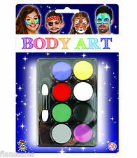 Halloween Make Up Face Paints  8 Colours With Brush Fancy Dress Make Up