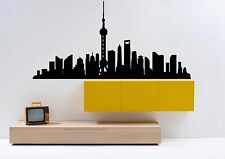Wall Vinyl Sticker Decal Skyline Horizon Panorama City Shanghai China F1775