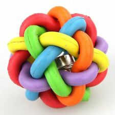 Dog Puppy Cat Pet Rainbow Colorful Rubber Bell Sound Ball Fun Playing Toy 5cm a