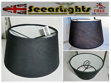 WALL LIGHT CANDLE LAMPSHADE CLIP ON CHANDELIER SHADE BLACK RETRO DRUM GOTHIC BN