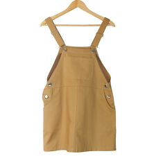 Cotton Drill Overalls Pinafore Dungaree Mini Dress Khaki Pink