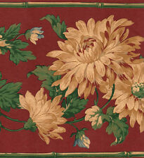 Cranberry & Gold Victorian Floral Wallpaper Border
