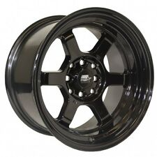 NEW MST WHEELS TIME ATTACK 15X8 4X100/4X114.3 +0 OFFSET BLACK SET OF 4 RIMS