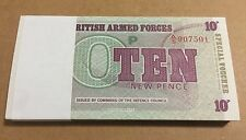 100 X BRITISH ARMED FORCES 10 NEW PENCE NOTES UNC & CONSECUTIVE FROM A/5 907501