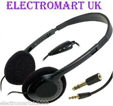 STEREO / MONO TV HI-FI HEADPHONES LONG 5M CABLE LEAD VOLUME CONTROL