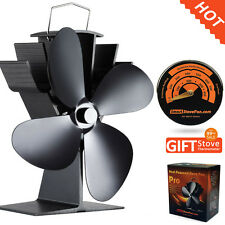 Hot Sale Heat Powered Stove Fan Log Burner Fan with Magnetic Stove Thermometer