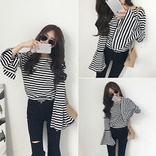 Hot Sale!  Korean Women Striped Trumpet Sleeves Coat Long Sleeve T-shirt