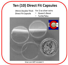 10 Double Thick 39mm Direct Fit Capsules - 2oz Silver Queen's Beast/Turtle Coins