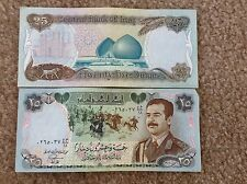 Iraq- Saddam hussien notes, 25 Dinars  uncirculated currency - 2 bills