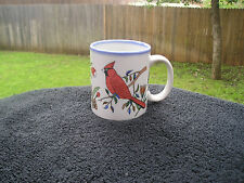 Otagiri Red Cardinal Orange White Blue Green Flowers Off White Mug