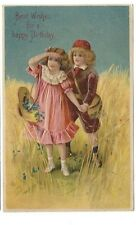 1906 postcard - Best Wishes for a Happy Birthday.  Nice embossed card with kids