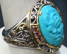 MICHAEL VALITUTTI  GEMS EN VOGUE NH CARVED TURQUOISE, PINK TOPAZ  RING  SIZE 10.