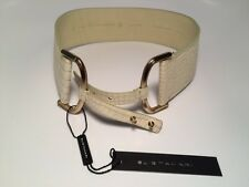 Elie Tahari Crocodile Pattern Bone Color Leather Belt Small S NWT Made in Italy