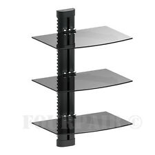 3 Shelves Triple Glass Shelf Wall Mount Bracket Under TV Component DVD DVR Stand