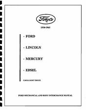 FORD & EDSEL PARTS INTERCHANGE 50 51 52 53 54 55 56 57 58 59 60 61 62 63 64 65