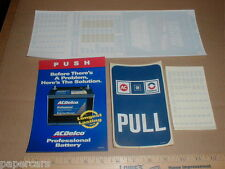 AC Delco Battery STORE HOURS Push Pull Original NEW Racing Sticker decal lot x4