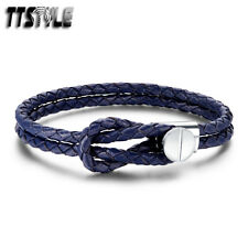 TTstyle Royal Blue Leather 316L Stainless Steel Silver Clasp Bracelet NEW