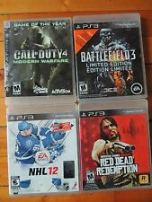 lot of 4 playstation3 games-call of duty4-battlefield3-red rain-nhl 12