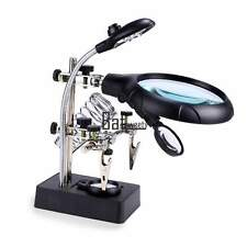 Helping Hand Soldering Stand With LED Light Magnifier Magnifying Glass 3 Lens US