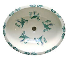 #085) MEDIUM 17x14 MEXICAN BATHROOM SINK CERAMIC DROP IN UNDERMOUNT BASIN